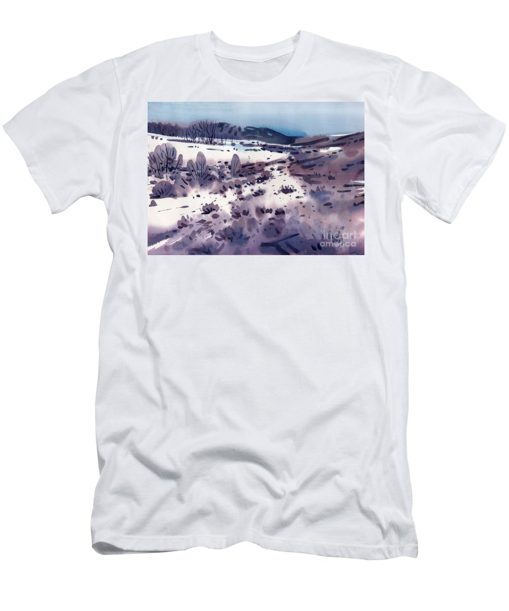 Sierra Foothills Men's T-Shirt (Athletic Fit) featuring the painting Angel's Camp by Donald Maier