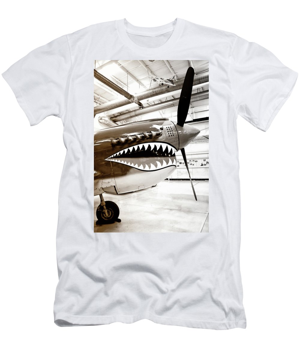 Ps Air Museum Men's T-Shirt (Athletic Fit) featuring the photograph Anger Management Bw Palm Springs Air Museum by William Dey