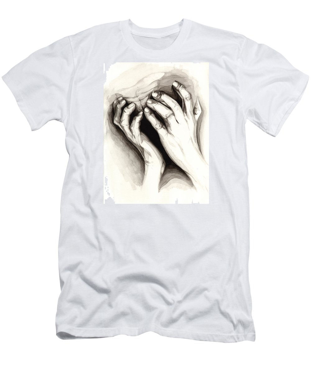 Portrait Men's T-Shirt (Athletic Fit) featuring the painting Anguish #2 by James Taylor