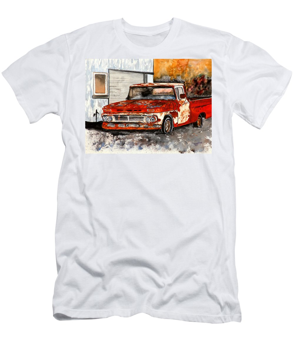 Transportation Men's T-Shirt (Athletic Fit) featuring the painting Antique Old Truck Painting by Derek Mccrea