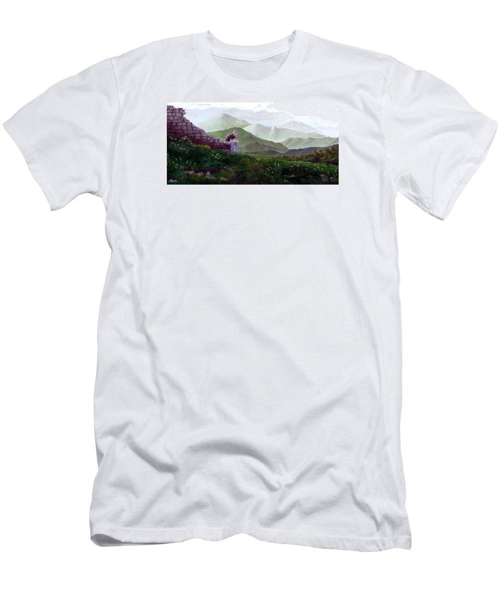 Italy Men's T-Shirt (Athletic Fit) featuring the painting Antonio Atop La Rocca De Monte Calvo by Albert Puskaric