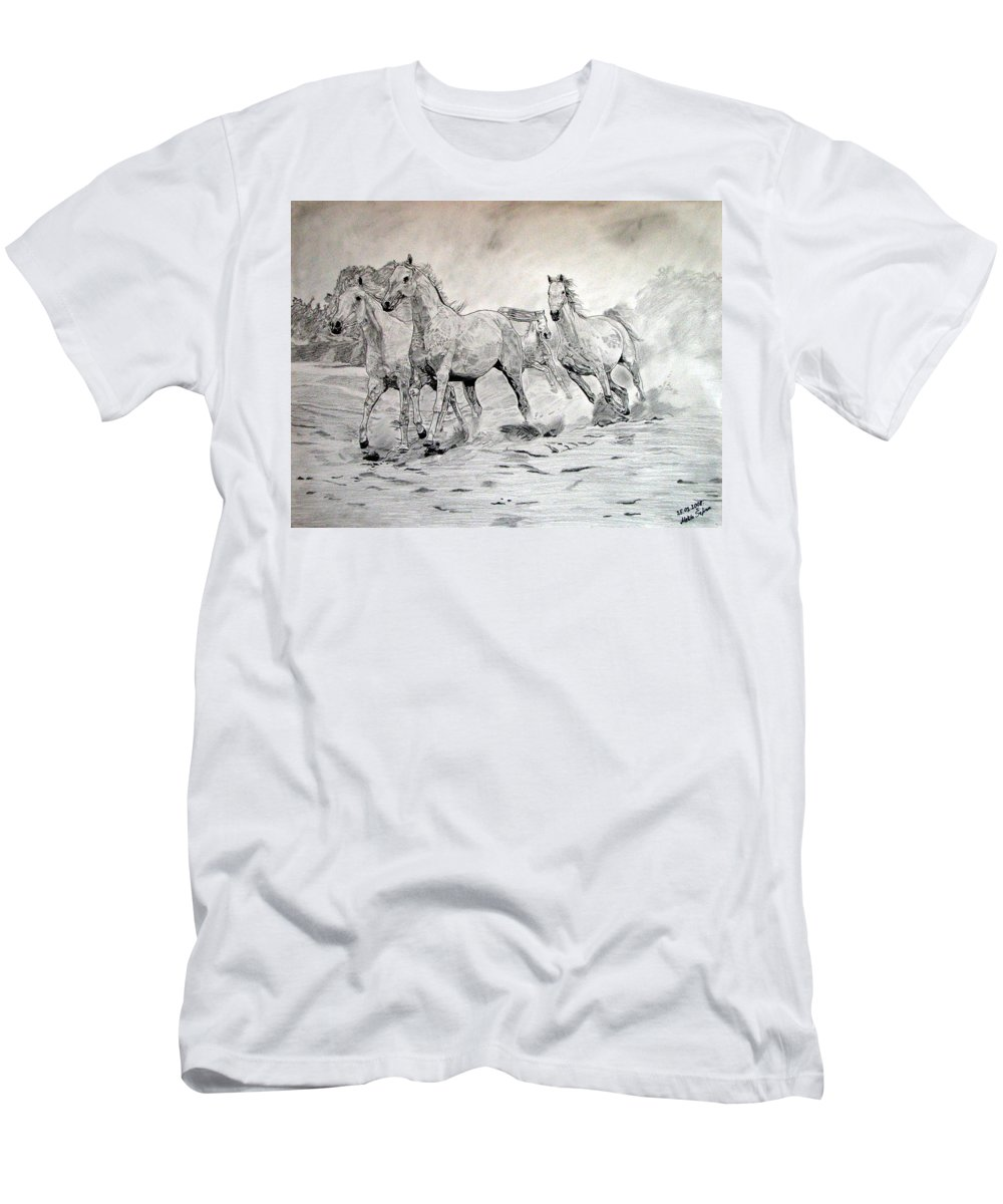 Horse Men's T-Shirt (Athletic Fit) featuring the drawing Arabian Horses by Melita Safran