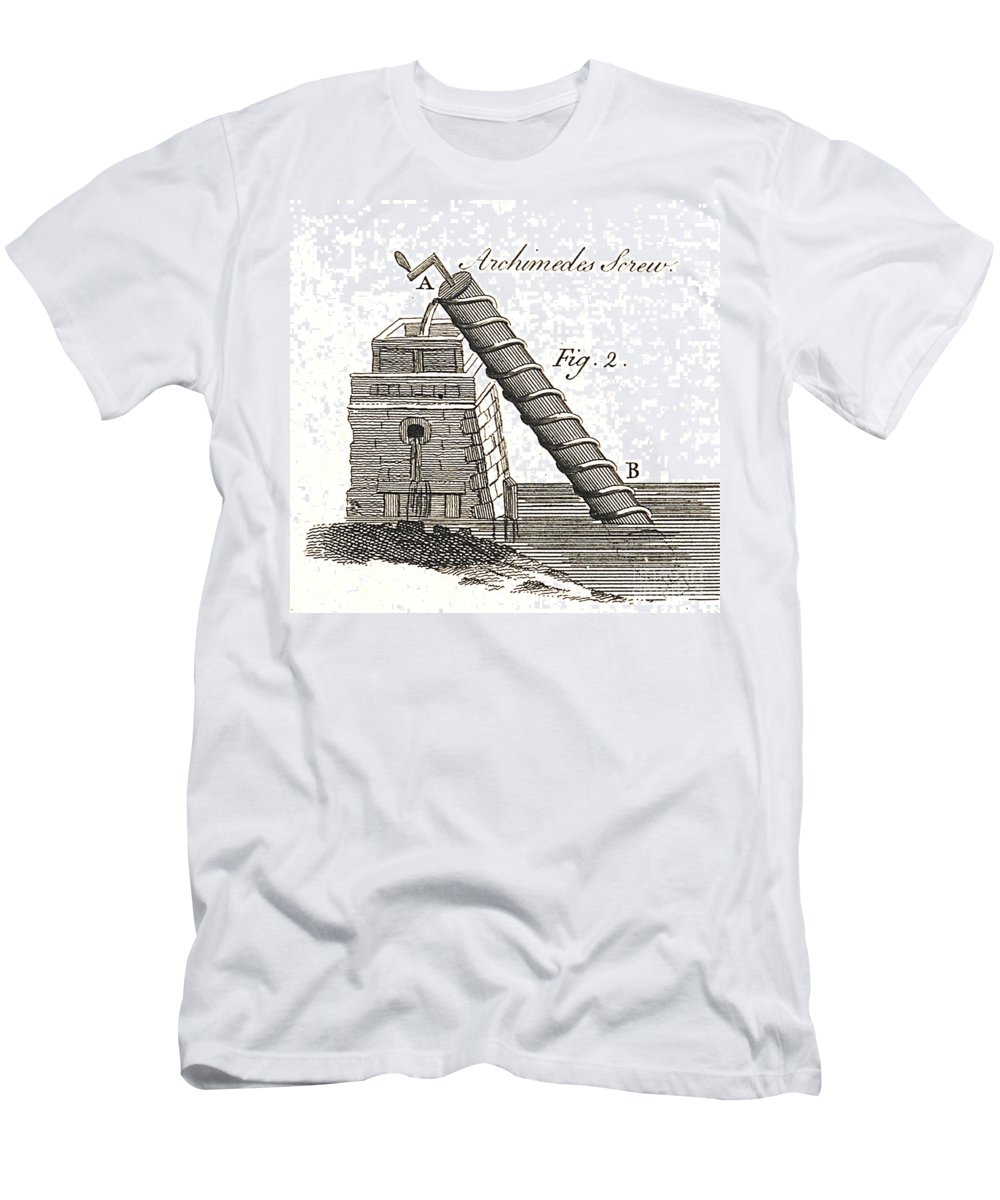 Historic Men's T-Shirt (Athletic Fit) featuring the photograph Archimedes Screw, 1769 by Wellcome Images
