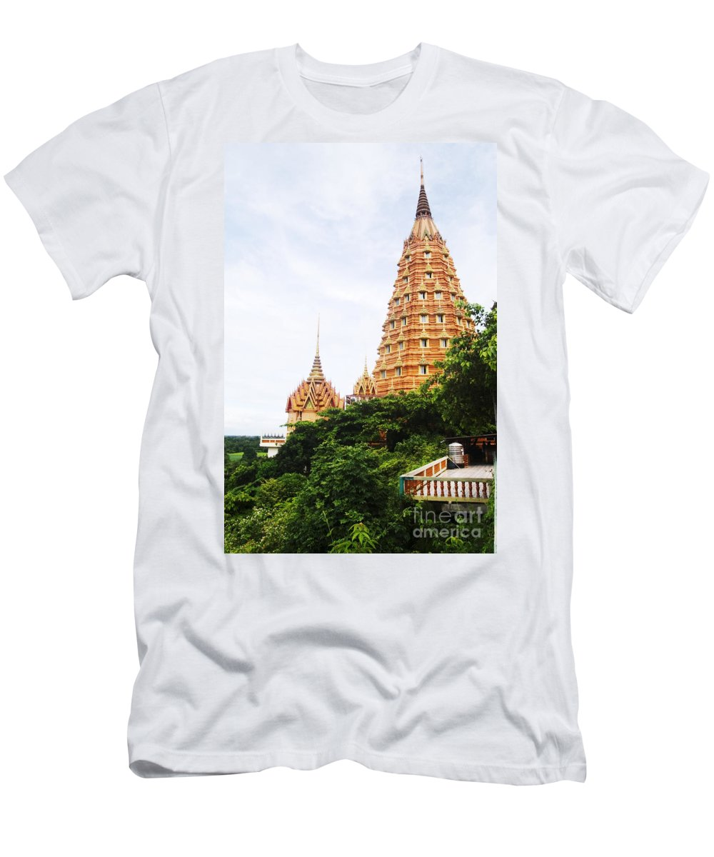 Architectural Men's T-Shirt (Athletic Fit) featuring the photograph architecture at Wat Tham Sua by Bill Brennan - Printscapes