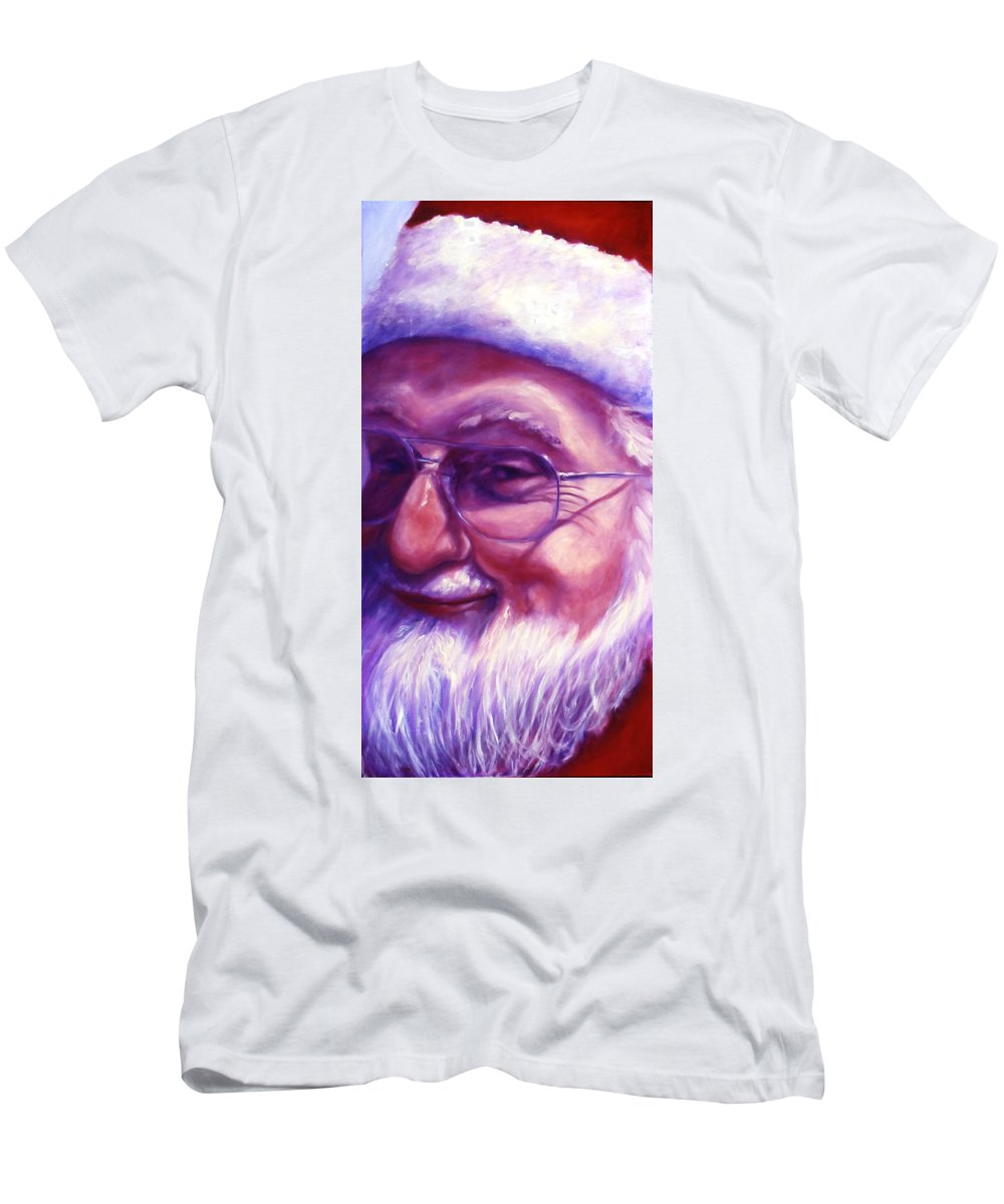 Portrait T-Shirt featuring the painting Are You Sure You Have Been Nice by Shannon Grissom