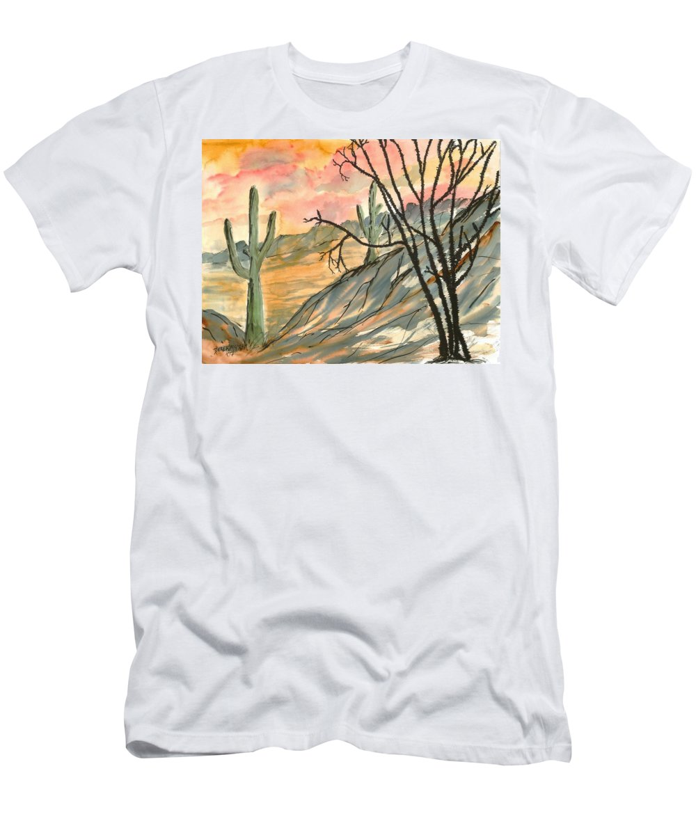 Drawing Men's T-Shirt (Athletic Fit) featuring the painting Arizona Evening Southwestern Landscape Painting Poster Print by Derek Mccrea