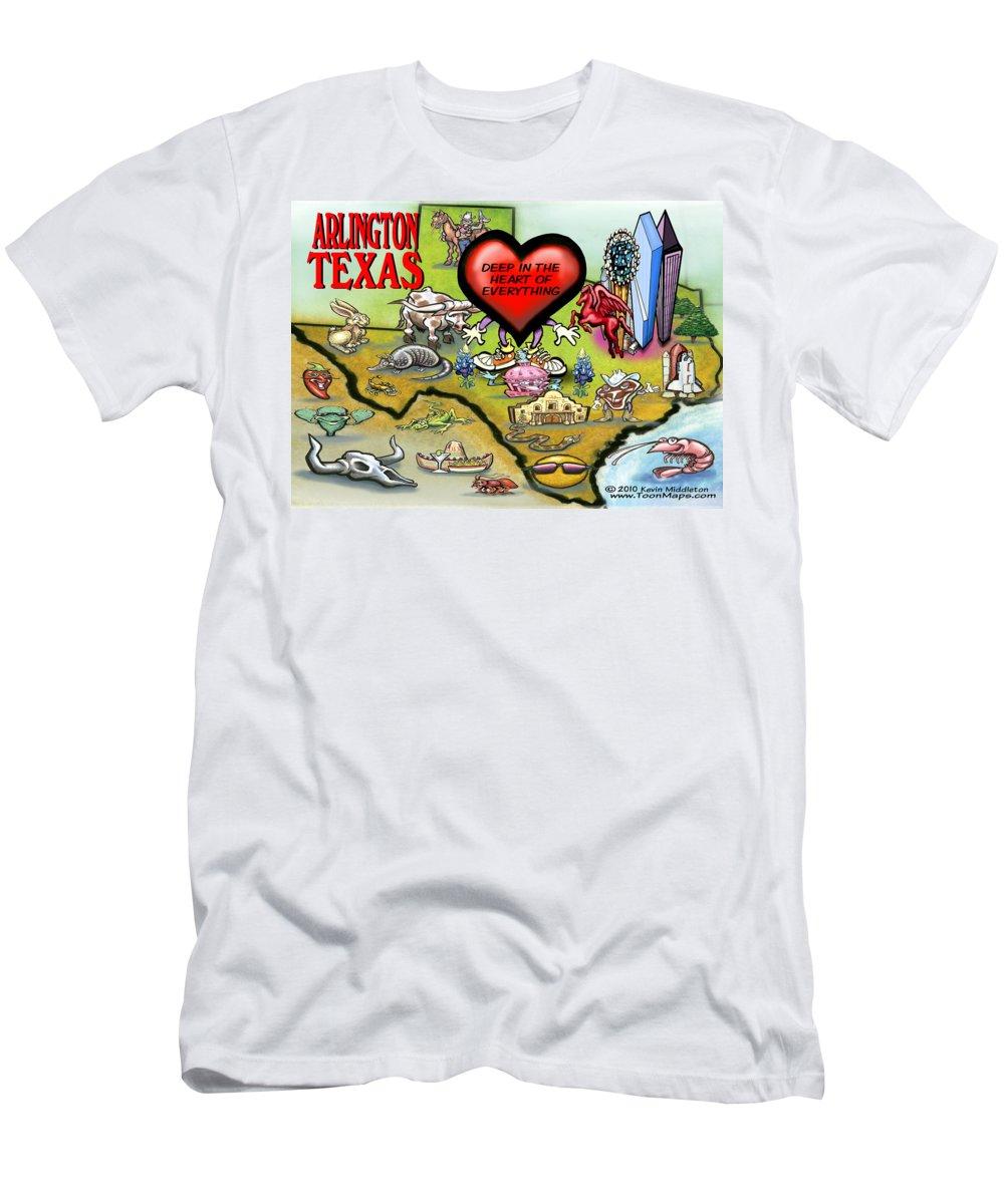 Arlington Men's T-Shirt (Athletic Fit) featuring the digital art Arlington Texas Cartoon Map by Kevin Middleton