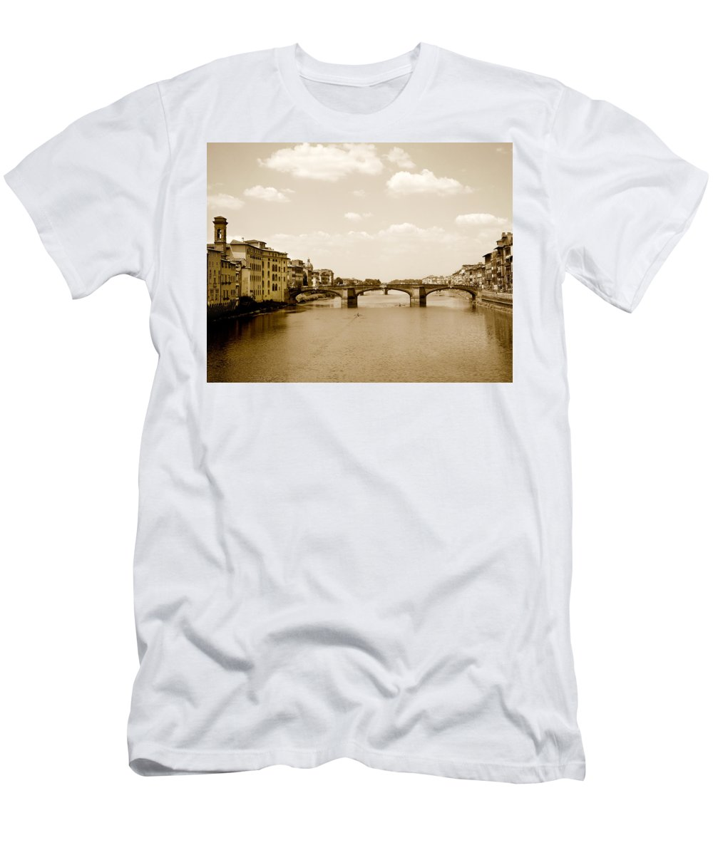 Italy Men's T-Shirt (Athletic Fit) featuring the photograph Arno River Florence by Marilyn Hunt