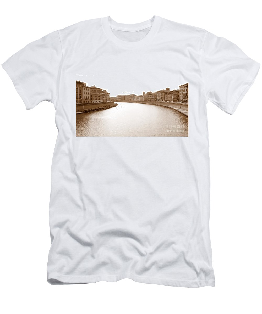 Arno Men's T-Shirt (Athletic Fit) featuring the photograph Arno River In Pisa by Laurel Best