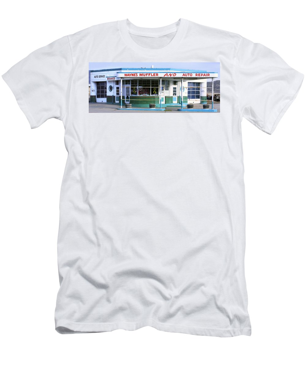 Americana Men's T-Shirt (Athletic Fit) featuring the photograph Art Deco Filling Station 1 by Marilyn Hunt