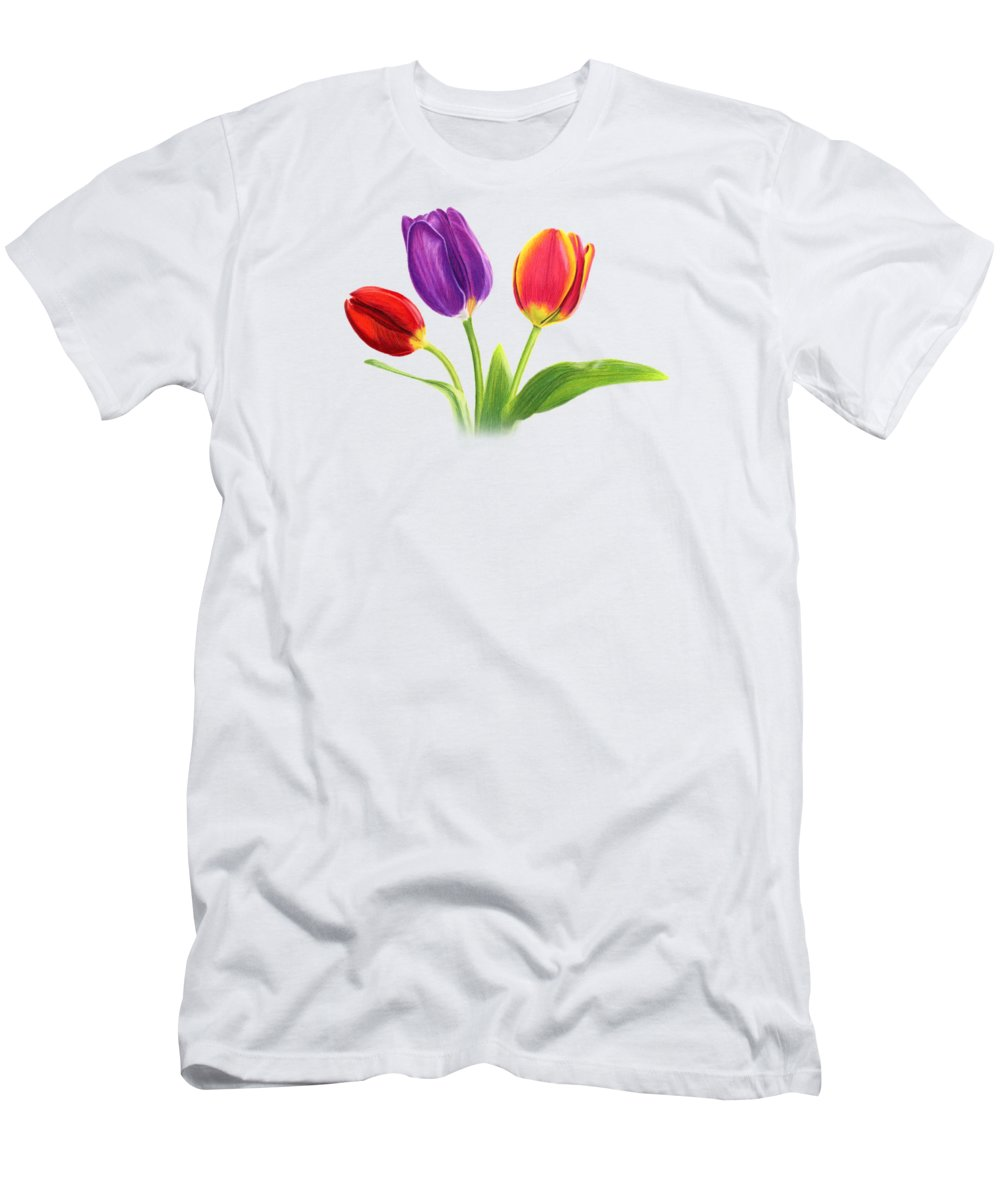 Tulips Men's T-Shirt (Athletic Fit) featuring the painting Tulip Trio by Sarah Batalka
