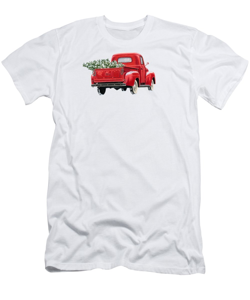 Christmas Truck T-Shirt featuring the painting The Road Home by Sarah Batalka