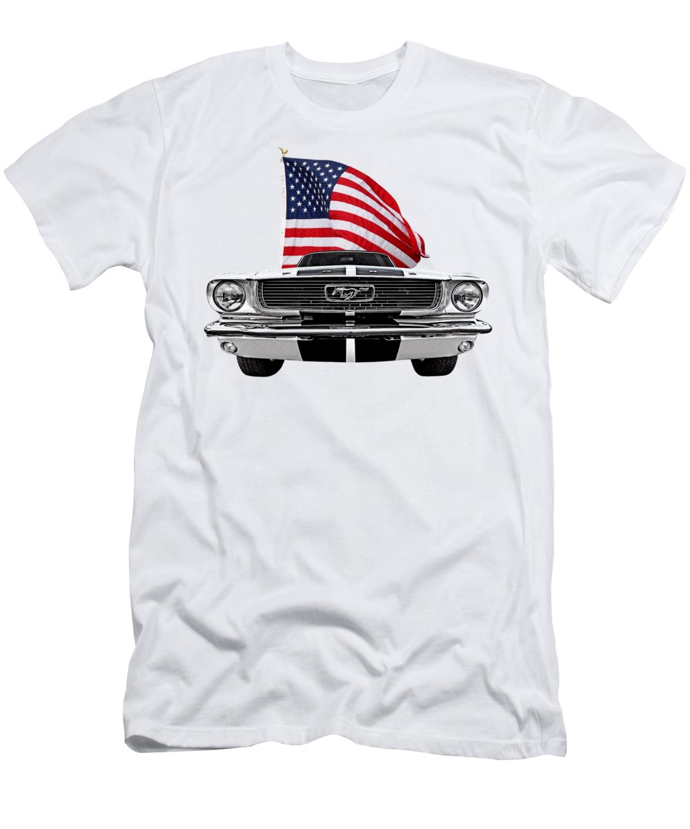 Ford Mustang Mens T Shirt Athletic Fit Featuring The Photograph Patriotic Mustang On