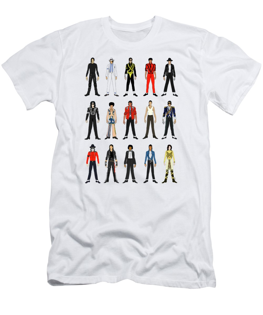 Michael Jackson T-Shirt featuring the digital art Outfits of Michael Jackson by Notsniw Art