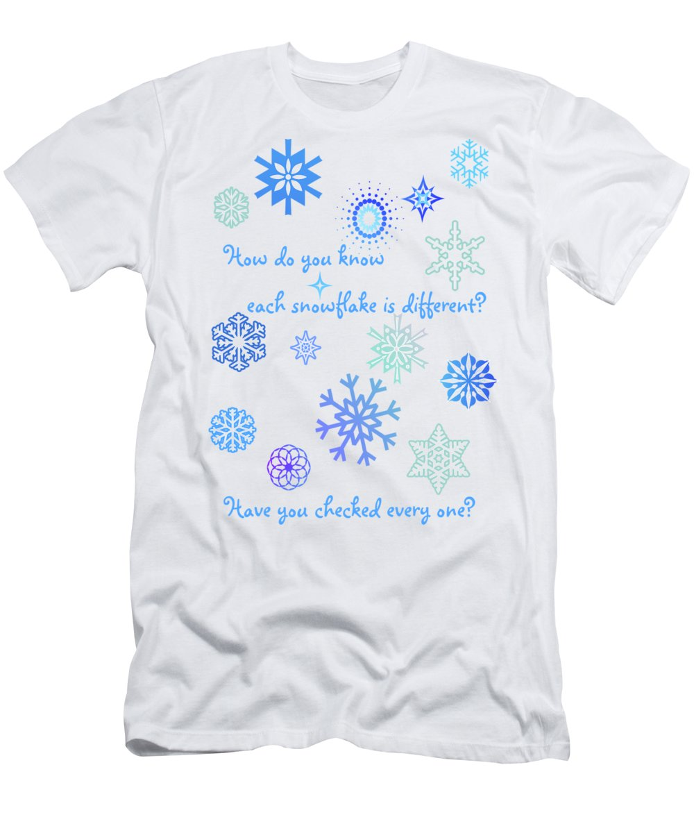 Snowflakes Men's T-Shirt (Athletic Fit) featuring the digital art Snowflakes by Methune Hively