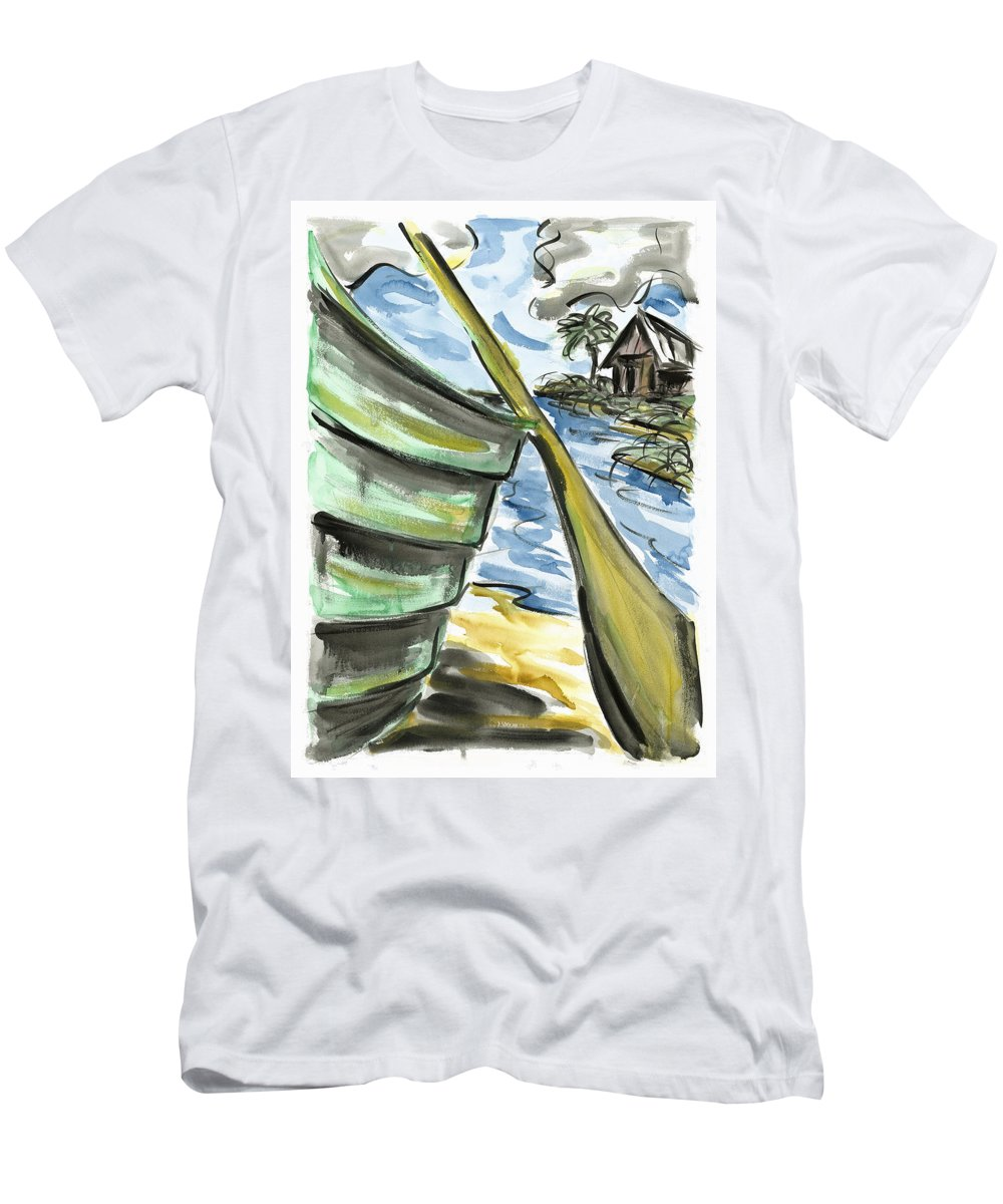 Seascape Men's T-Shirt (Athletic Fit) featuring the painting Ashore by Robert Joyner