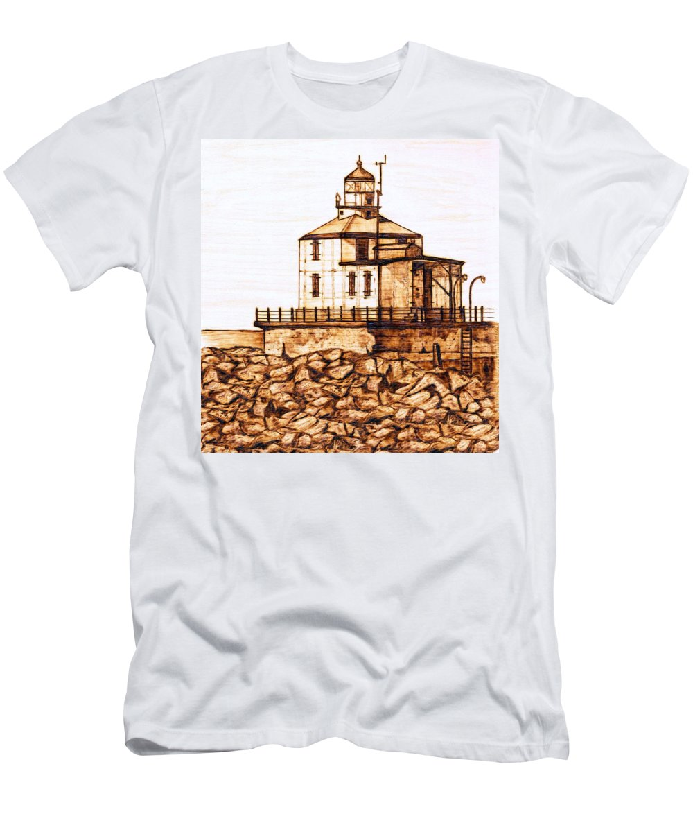 Lighthouse Men's T-Shirt (Athletic Fit) featuring the pyrography Ashtabula Harbor by Danette Smith