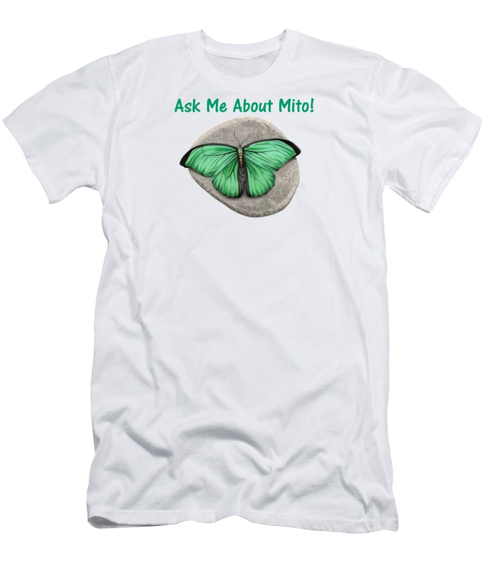 Butterfly Men's T-Shirt (Athletic Fit) featuring the drawing Ask Me About Mito T-shirt Or Tote Bag by Sarah Batalka