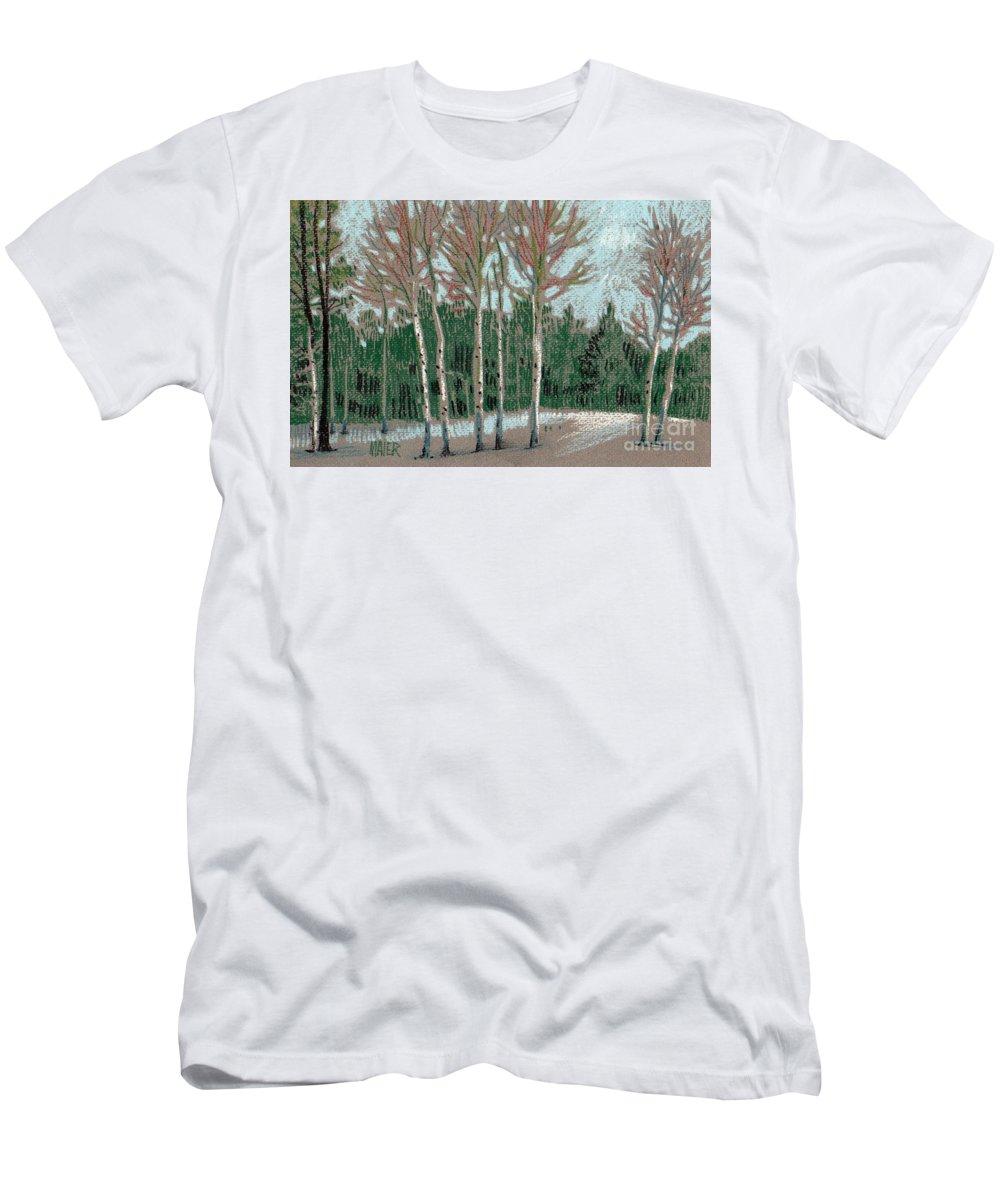 Aspens Men's T-Shirt (Athletic Fit) featuring the drawing Aspen In The Snow by Donald Maier