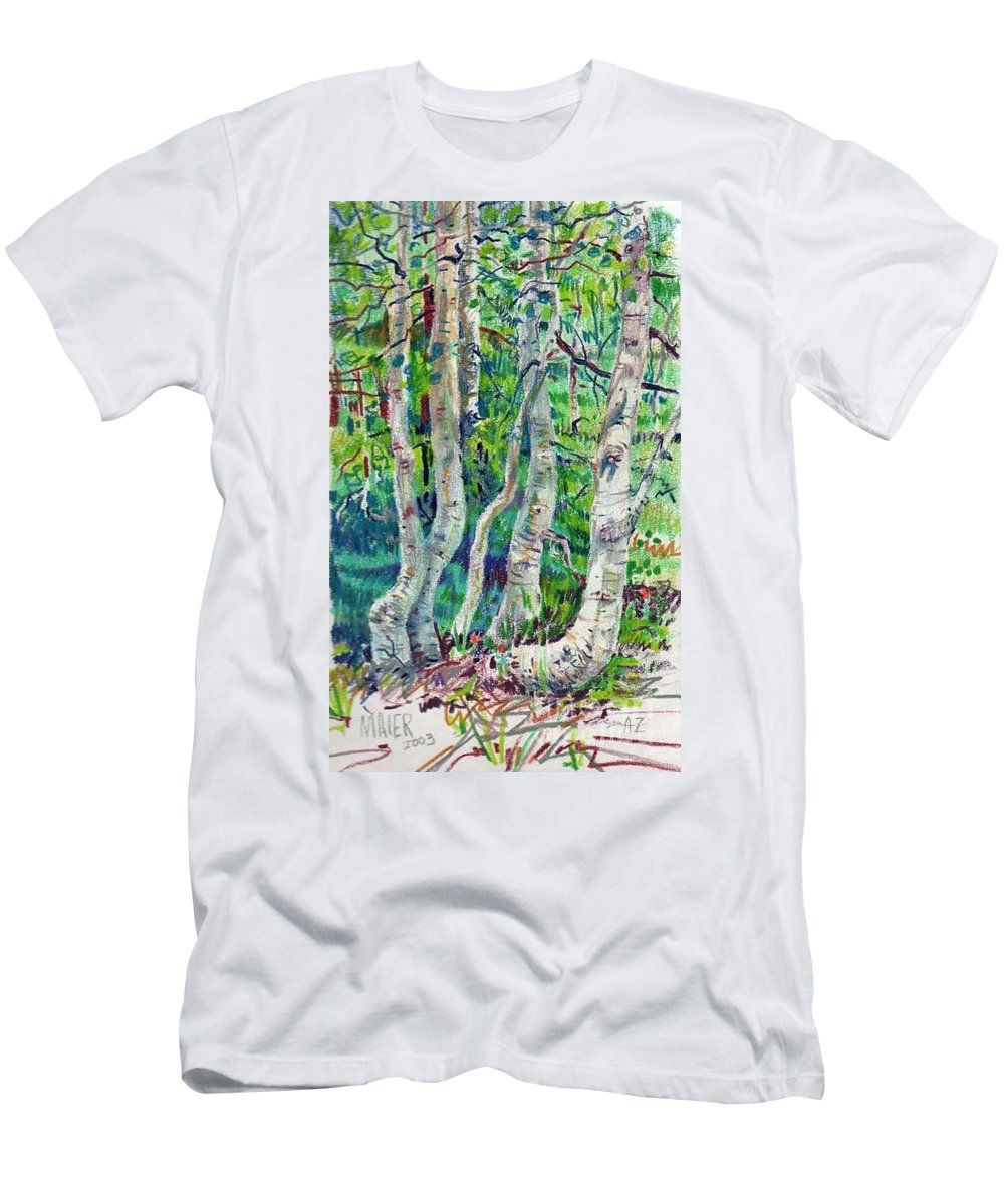 Aspens Men's T-Shirt (Athletic Fit) featuring the drawing Aspens by Donald Maier