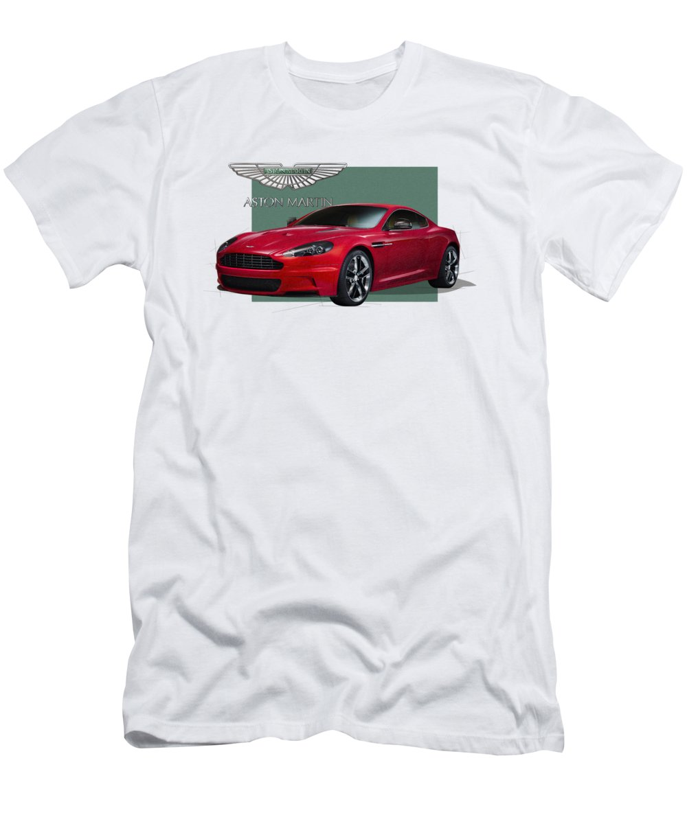 �aston Martin� By Serge Averbukh Men's T-Shirt (Slim Fit) featuring the photograph Aston Martin D B S V 12 With 3 D Badge by Serge Averbukh