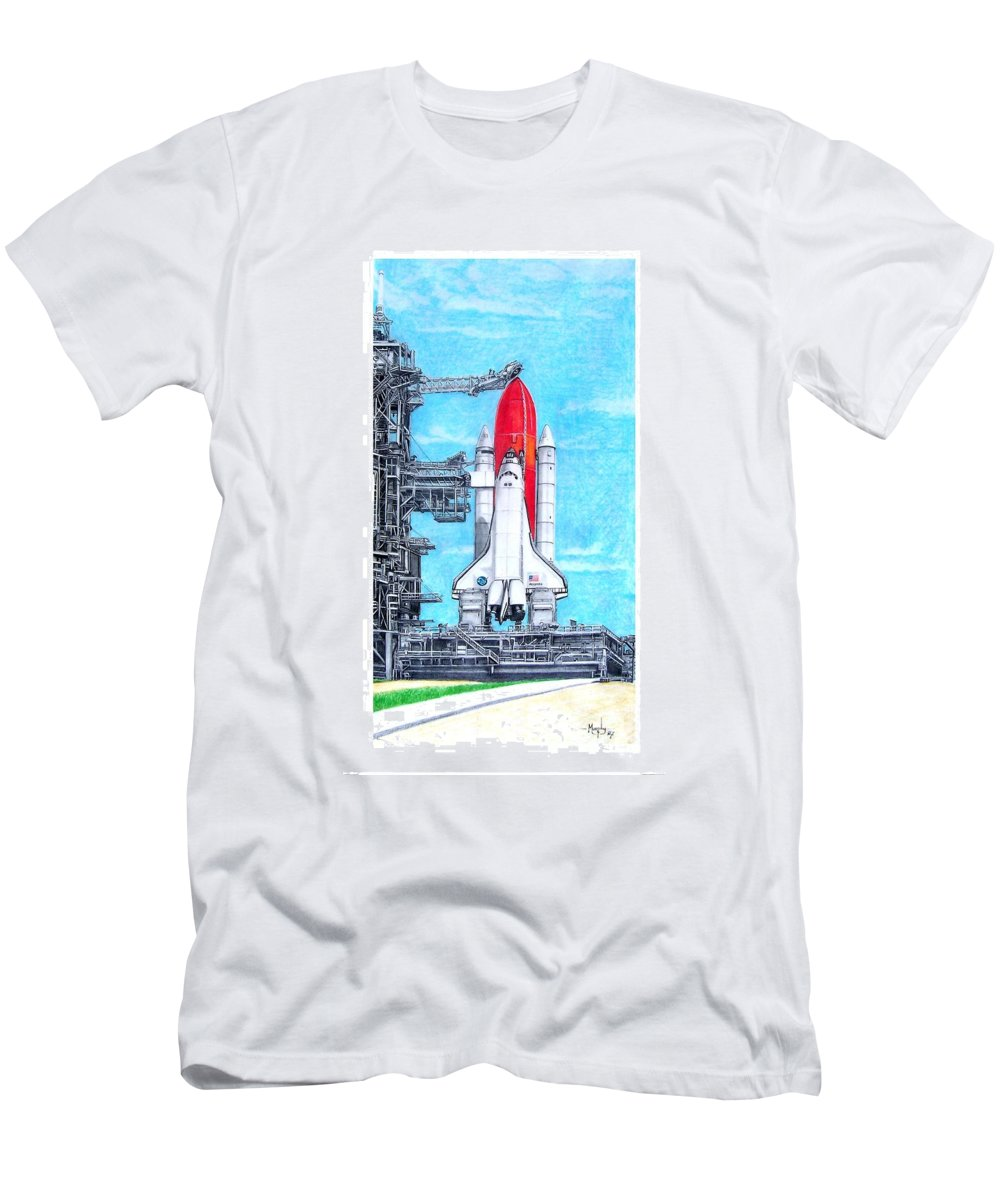 Drawing Men's T-Shirt (Athletic Fit) featuring the drawing Atlantis by Murphy Elliott