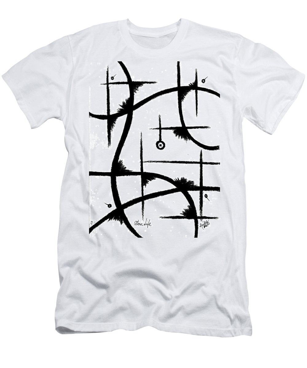 Modernist - Contemporany Men's T-Shirt (Athletic Fit) featuring the drawing Atom Life by Arides Pichardo