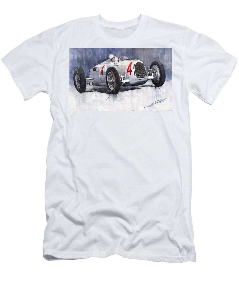 Auto Men's T-Shirt (Athletic Fit) featuring the painting Auto Union C Type 1937 Monaco Gp Hans Stuck by Yuriy Shevchuk
