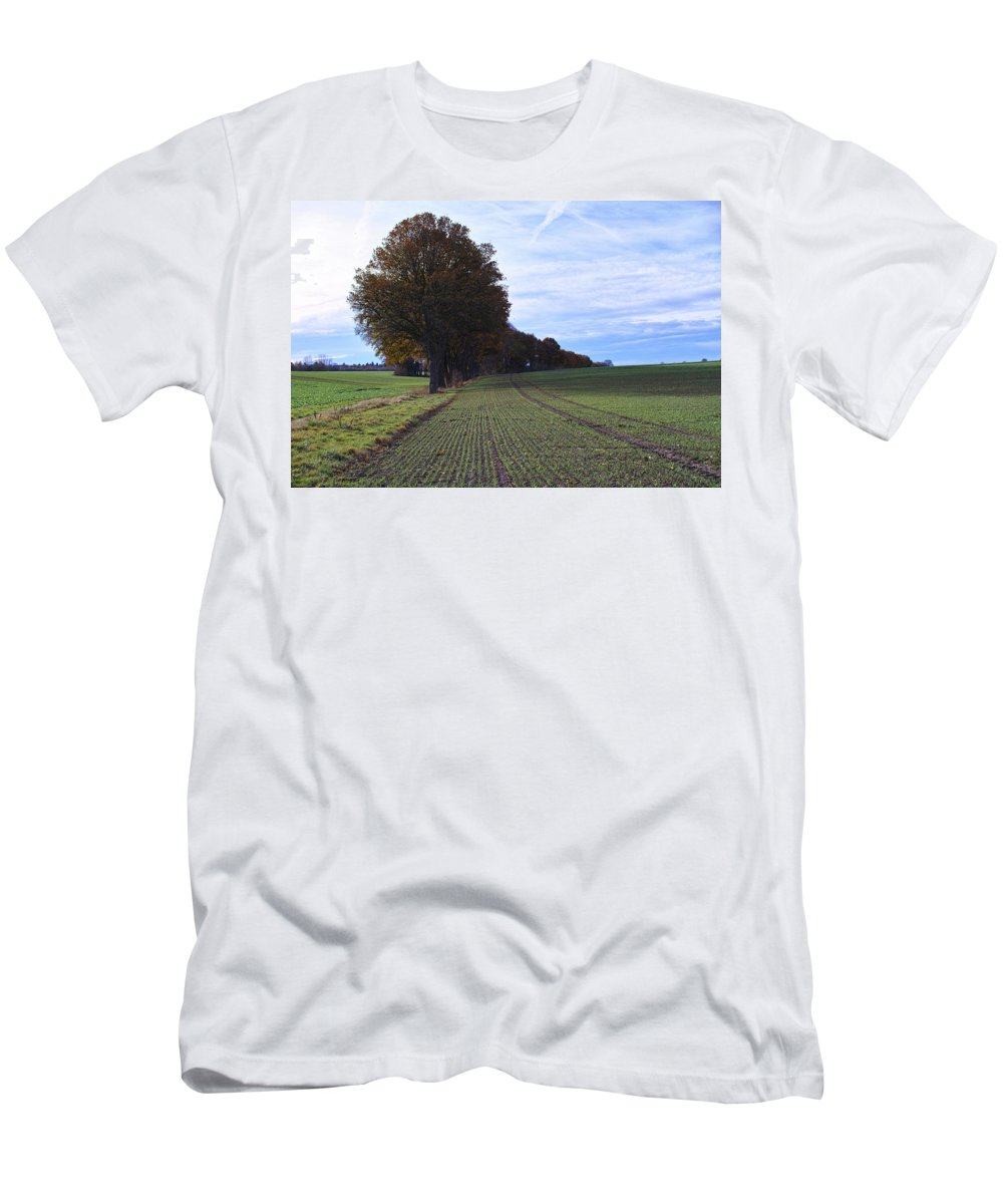 Autumn Farmland Landscape Germany Men's T-Shirt (Athletic Fit) featuring the photograph Autumn Fields, Syke, Germany by Carsten Lemmermann