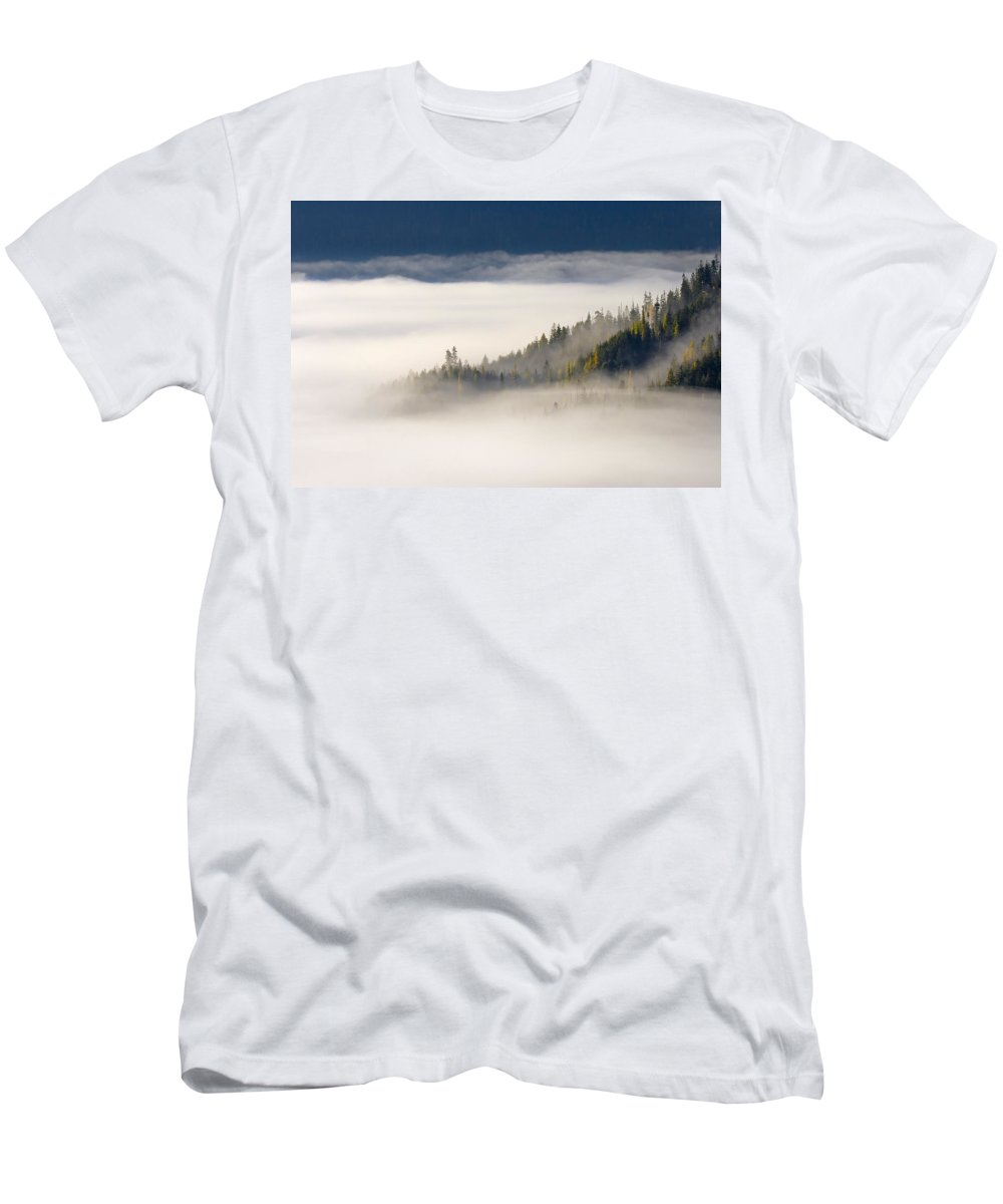 Fog Men's T-Shirt (Athletic Fit) featuring the photograph Autumn Morn by Mike Dawson