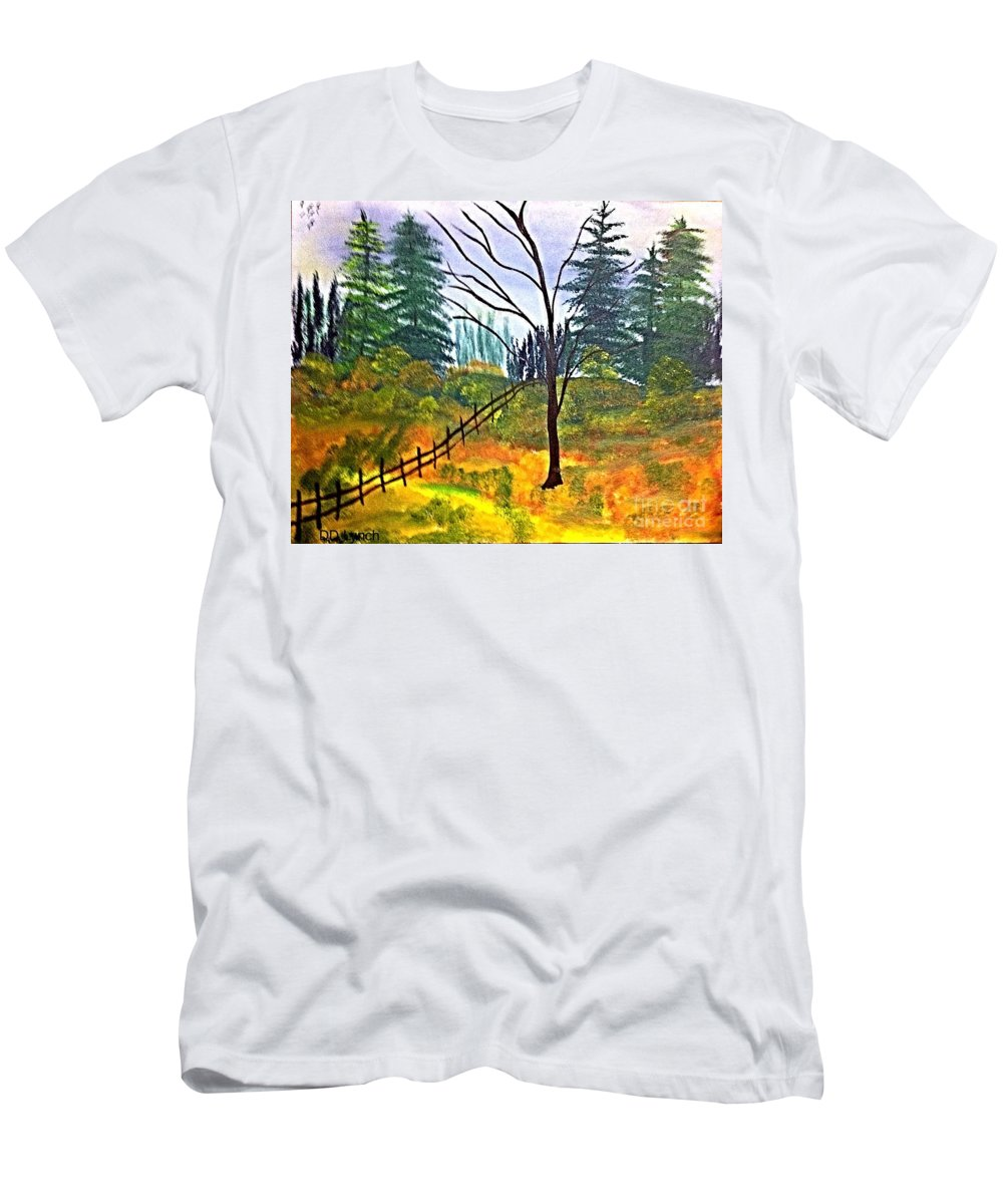 Oil Men's T-Shirt (Athletic Fit) featuring the painting Autumn Morning In The Wild by Debra Lynch