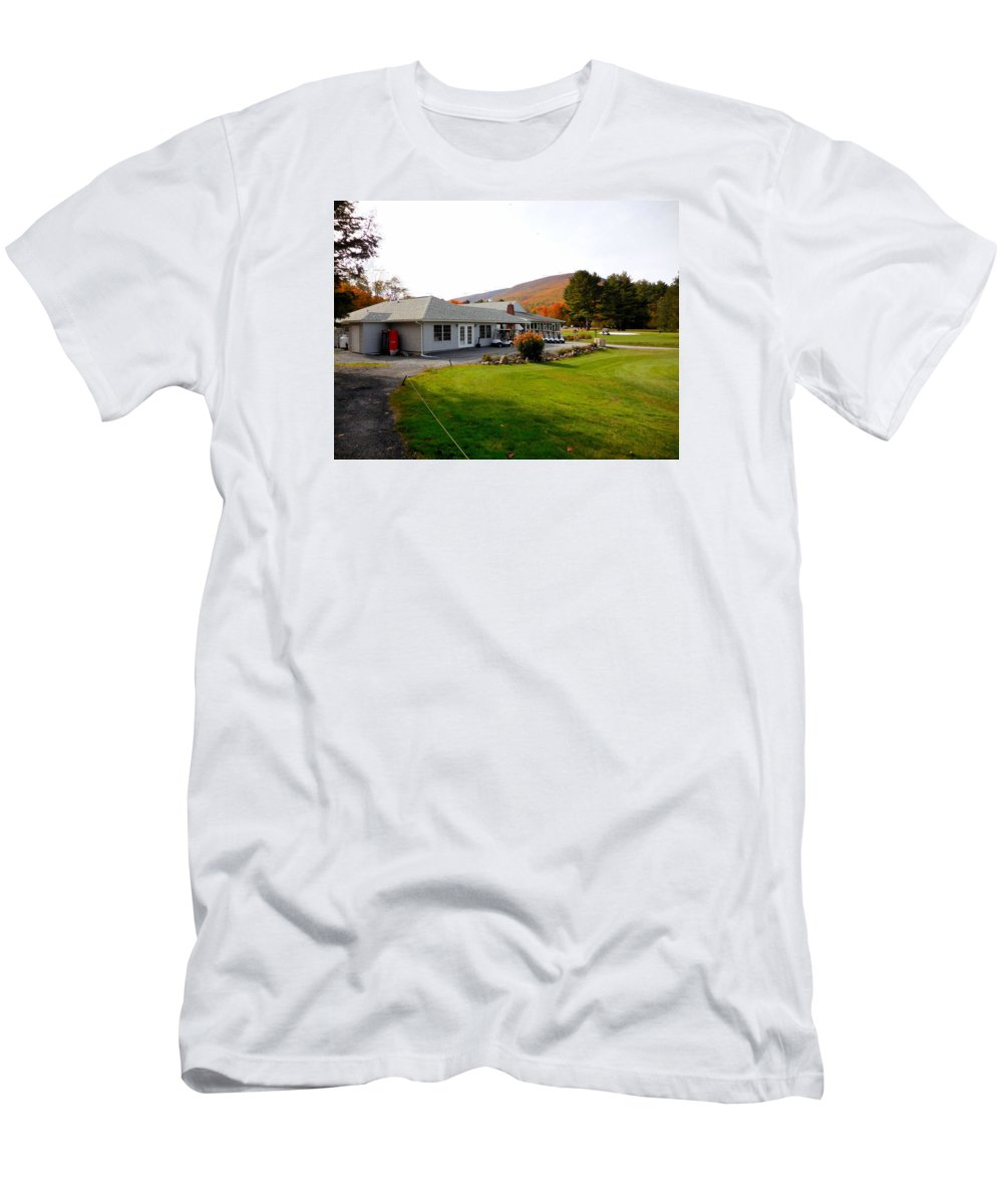 Building Men's T-Shirt (Athletic Fit) featuring the painting Autumn Mountain Golf Course 6 by Jeelan Clark