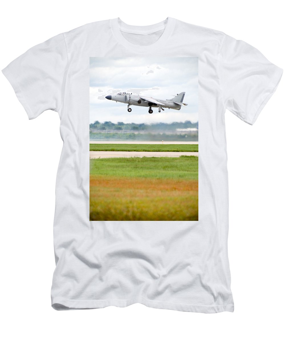 Airplane Men's T-Shirt (Athletic Fit) featuring the photograph Av-8 Harrier by Sebastian Musial
