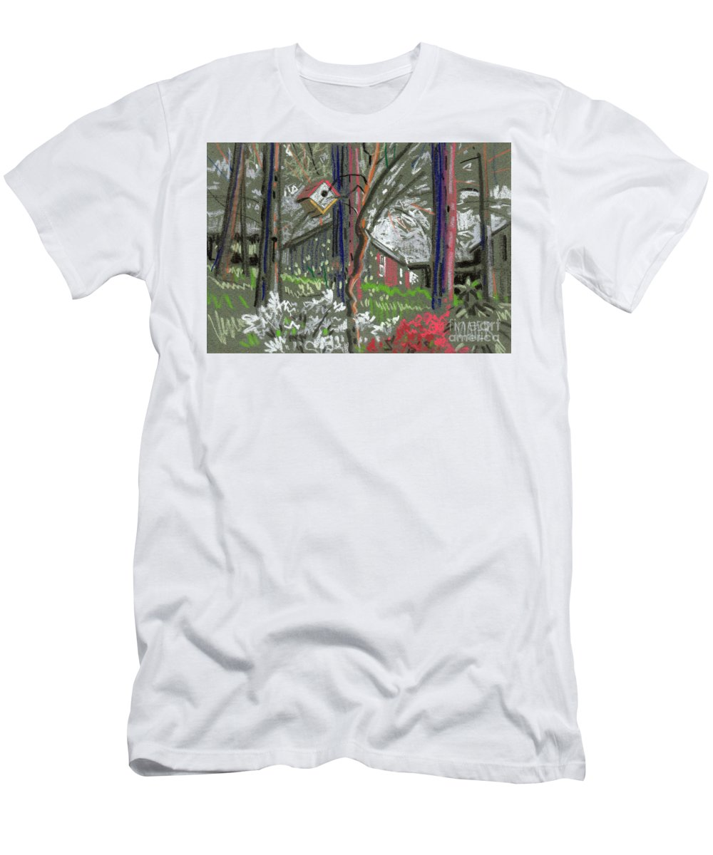 Azalea Men's T-Shirt (Athletic Fit) featuring the drawing Azaleas In Spring by Donald Maier