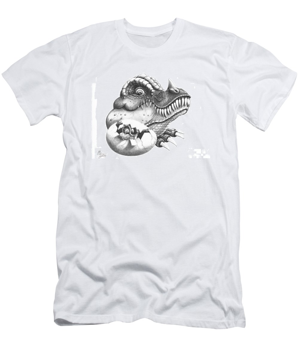 Drawing Men's T-Shirt (Athletic Fit) featuring the drawing Baby Dinosaur by Murphy Elliott