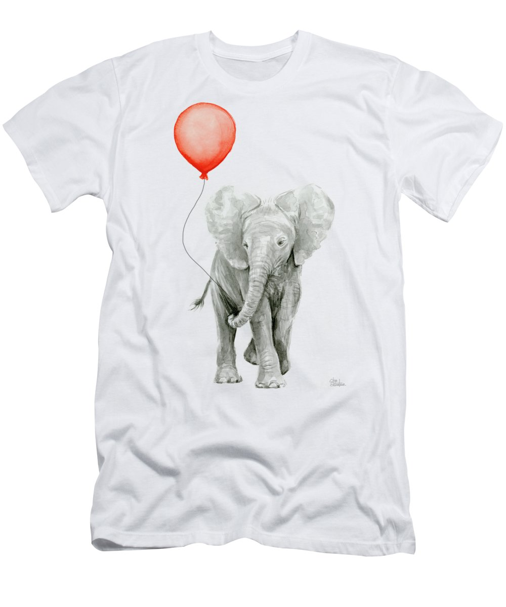d9cce885e4f6d4 Elephant Men s T-Shirt (Athletic Fit) featuring the painting Baby Elephant  Watercolor Red