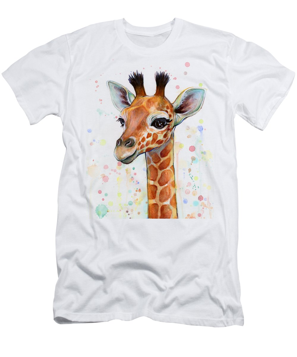 Watercolor Men's T-Shirt (Athletic Fit) featuring the painting Baby Giraffe Watercolor by Olga Shvartsur