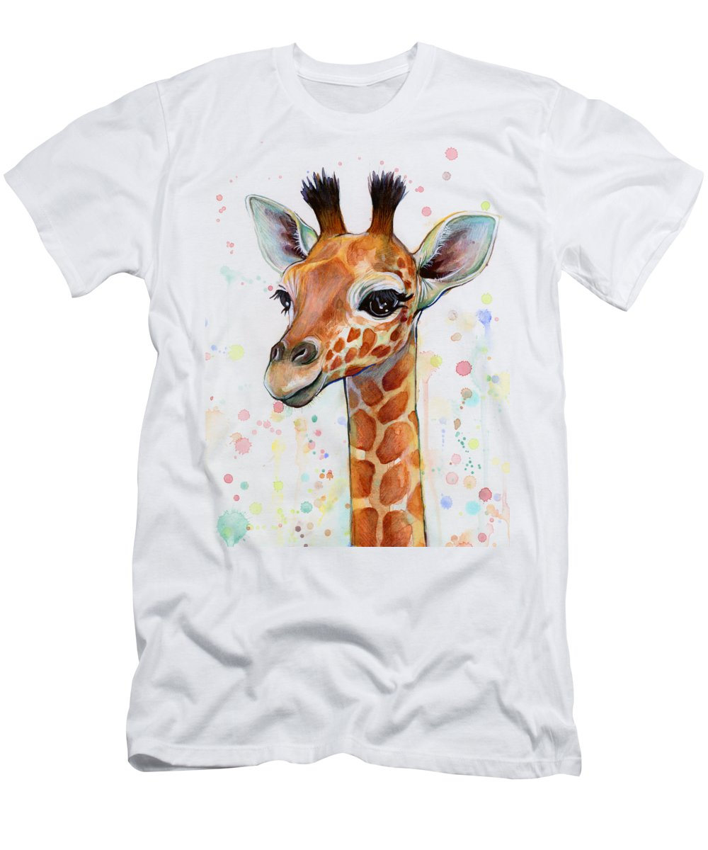 Watercolor T-Shirt featuring the painting Baby Giraffe Watercolor by Olga Shvartsur
