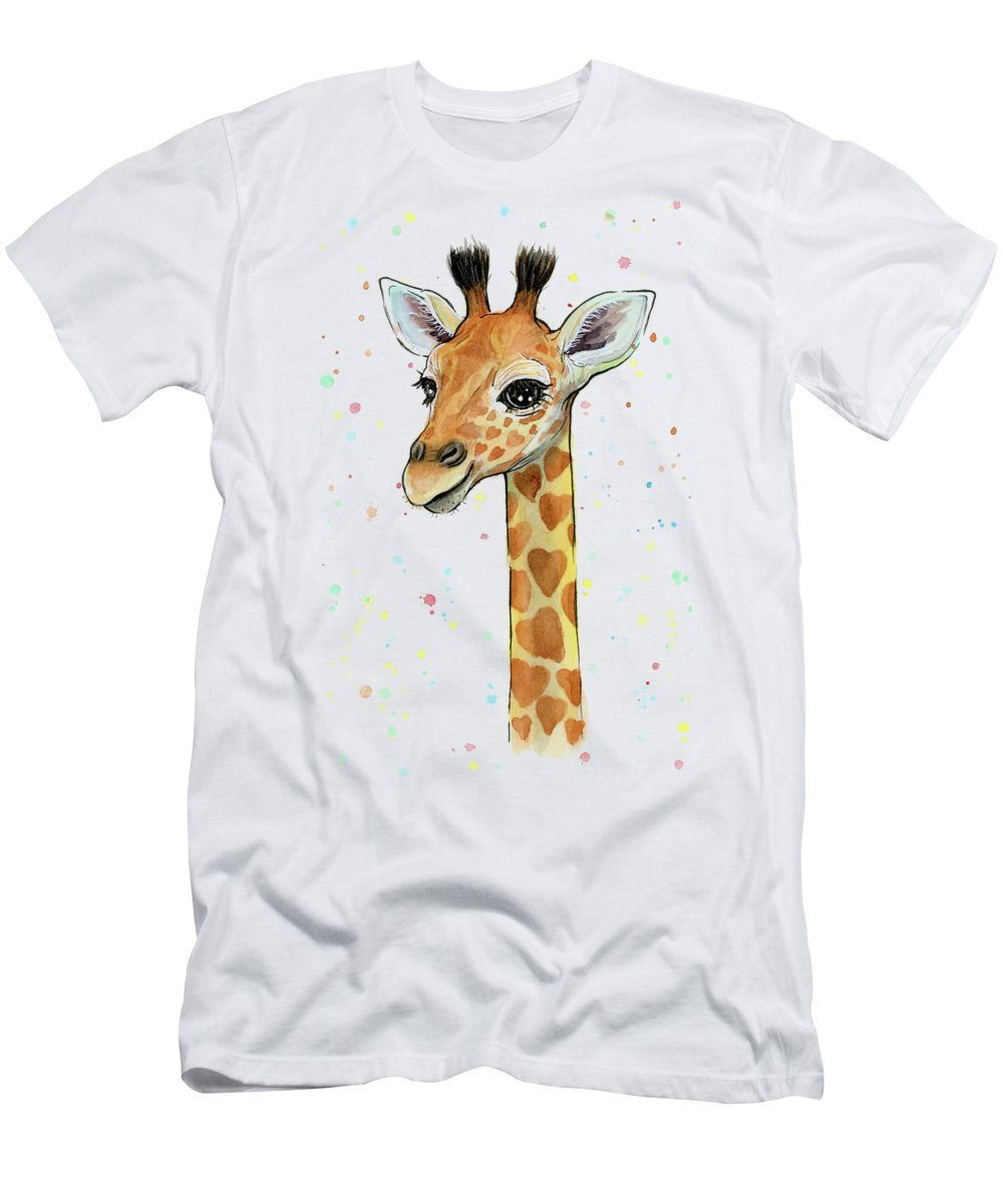 Watercolor Giraffe Men's T-Shirt (Athletic Fit) featuring the painting Baby Giraffe Watercolor With Heart Shaped Spots by Olga Shvartsur