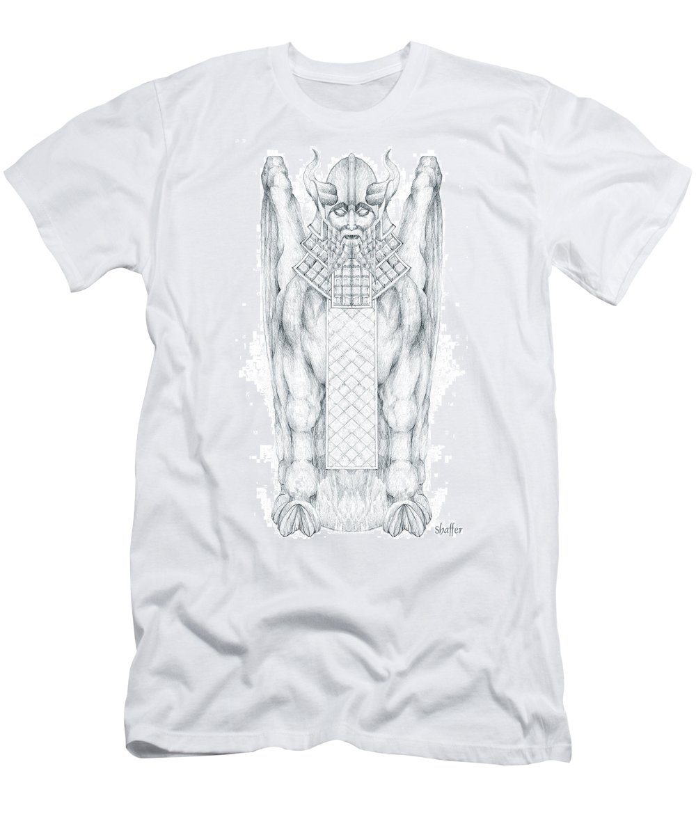 Babylonian Men's T-Shirt (Athletic Fit) featuring the drawing Babylonian Sphinx Lamassu by Curtiss Shaffer
