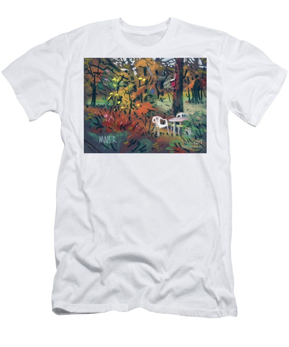 Pastel T-Shirt featuring the painting Backyard in Autumn by Donald Maier
