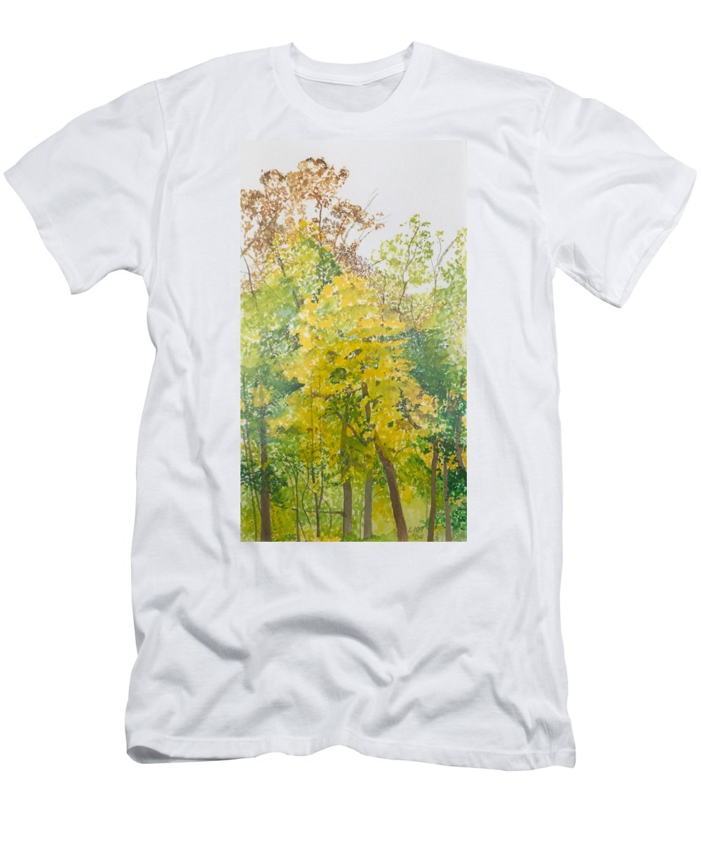 Autumn T-Shirt featuring the painting Backyard by Leah Tomaino
