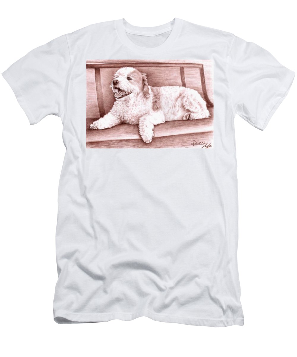 Dog Men's T-Shirt (Athletic Fit) featuring the drawing Baco by Nicole Zeug