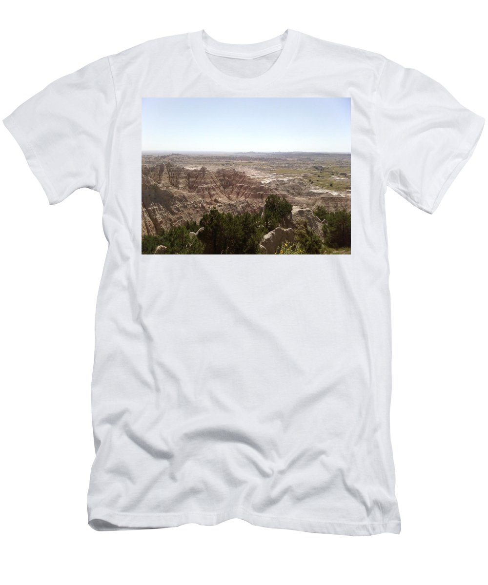 Hills Bad Lands Trees Men's T-Shirt (Athletic Fit) featuring the photograph Bad Lands by Cindy New