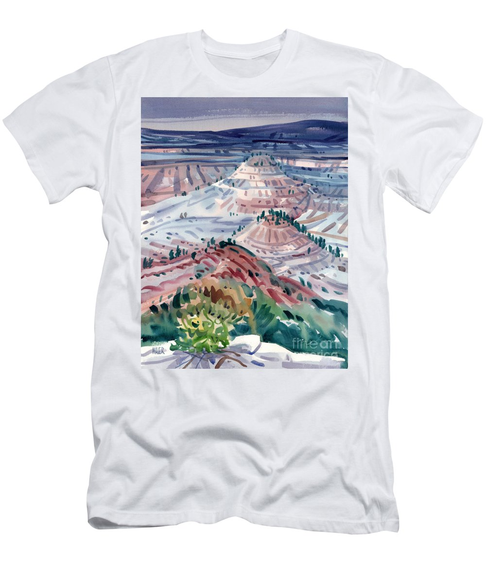 South Dakota Men's T-Shirt (Athletic Fit) featuring the painting Badlands Of South Dakota by Donald Maier