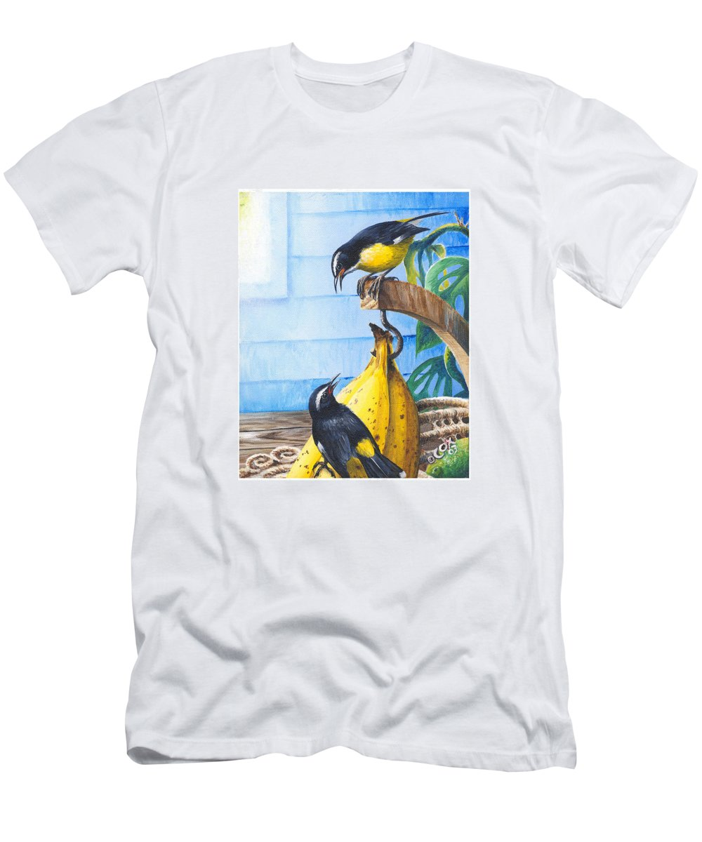 Chris Cox Men's T-Shirt (Athletic Fit) featuring the painting Bananaquits And Bananas by Christopher Cox