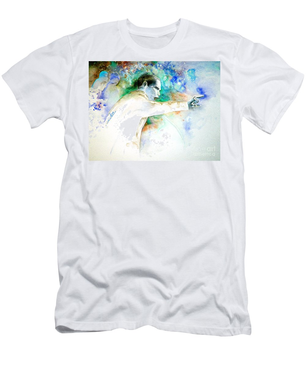 Portrait Barack Obama Men's T-Shirt (Athletic Fit) featuring the painting Barack Obama Pointing At You by Miki De Goodaboom