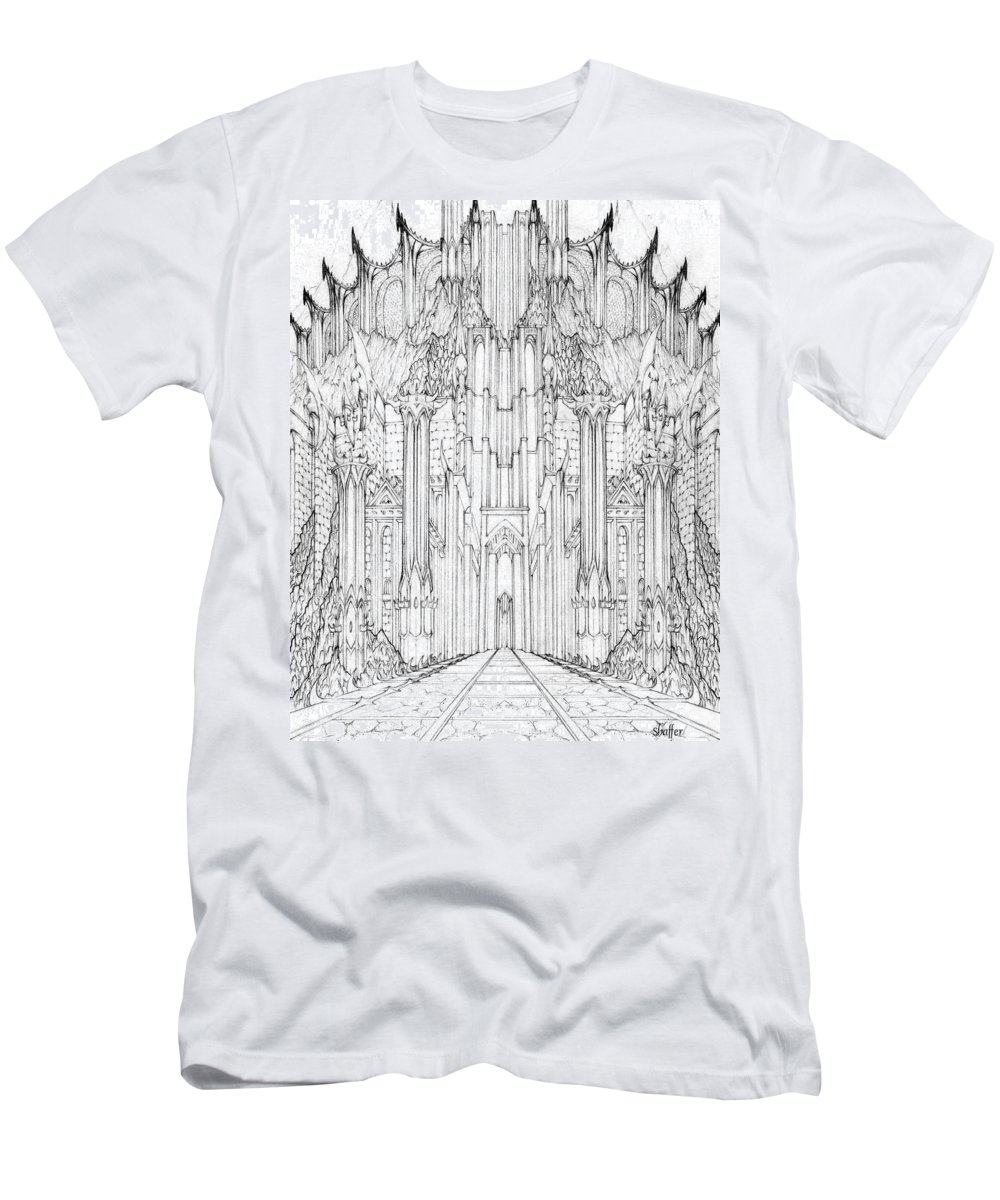 Barad-dur Men's T-Shirt (Athletic Fit) featuring the drawing Barad-dur Gate Study by Curtiss Shaffer