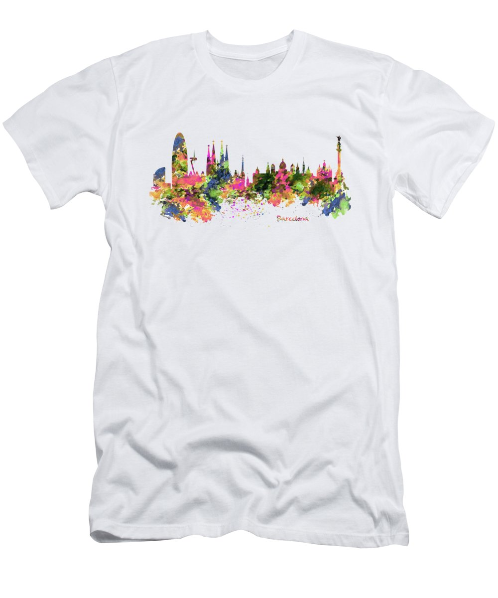 96daec8bc94 Barcelona Men s T-Shirt (Athletic Fit) featuring the painting Barcelona  Watercolor Skyline by