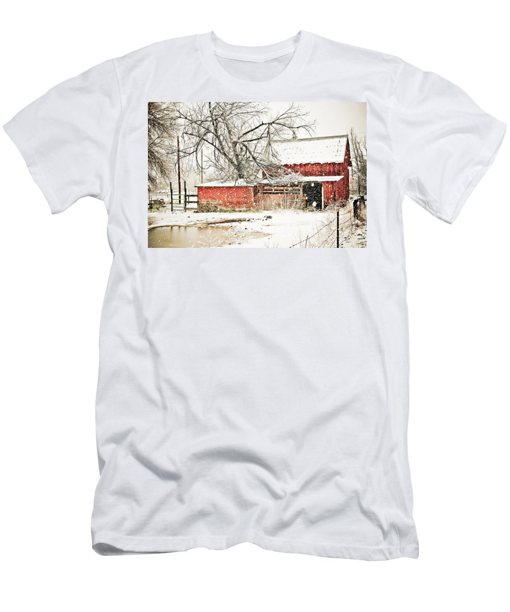 Americana Men's T-Shirt (Athletic Fit) featuring the photograph Barn And Pond by Marilyn Hunt